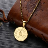 Мужской кулон ожерелье Vintage мужских Gold Chain Link титанового стали Круглыми монеты писания ожерелья подарка ювелирных изделий оптовой Бесплатная доставка