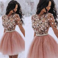 2019 robes de retour courte courtes perlé rose rose fleur robes de bal de bal de cocktail champion zy