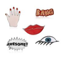 """Labios rojos """"Awesone"""" """"Bang"""" Devil's Eye Palm Red Nails Personalidad creativa linda combinación decoración broche regalo"""