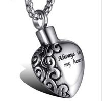 316L chirurgical Memorial en acier inoxydable Pet Ash Urn Pendentif Collier / coeur d'amour Bouteille de parfum Pendentif pour MenWomen