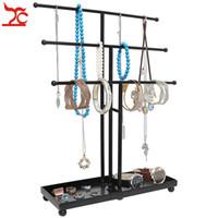 Estante de exhibición de la joyería collar de la pulsera de la bandeja del poste del metal Organizador del ornamento del escaparate del sostenedor Moda 3 Tier T Bar de la joyería pendiente de la suspensión
