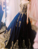 Fashion Gold Lace Quinceanera Prom Dresses Dark Blue Tulle S...