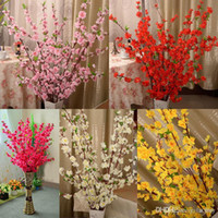웨딩 파티 장식에 대 한 160pcs 인공 벚꽃 봄 매화 복숭아 꽃 지점 실크 꽃 나무 흰색 빨간색 노란색 핑크