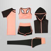 OLOEY Женщины 5 шт Йога Набор для Запуск футболки Фитнес Bra Sports Wear Gym Одежда Женщины тренировки Набор спортивный костюм MX200329