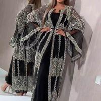 2020 abaya dubai vestido muçulmano de alta classe lantejoulas bordado laço ramadan kaftan islam kimono mulheres turkish eid mubarak