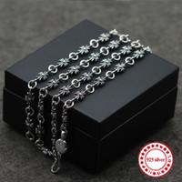 S925 collier en argent sterling collier de perles chaîne simple croix personnalité classique long paragraphe couple dominateur envoyer un cadeau
