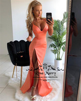 Sexy Plus Size Mermaid Cheap Prom Dresses 2019 High Split Lo...