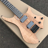 Custom OS 6 String Natural Koa Flame Maple Top Headless Electric Guitar KD Patent Tremolo Tailpiece, svart hårdvara