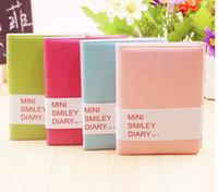 Bonito Colorido Mini Caderno De Couro Sorriso 7.5 * .12.5 CM 192 Folhas de Fio Encadernado 90 g / pc Diário de Moda para Negócios e Estudantes