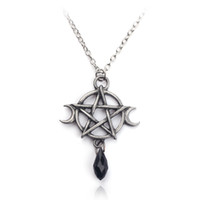 Supernatural Pentagram Moon Necklace Black Crystal Pendant W...