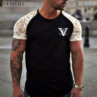 2018 bahar ve yaz kısa kollu yuvarlak boyun baskı çizgili gevşek T-shirt dövme baskı T-shirt erkekler WGTX60