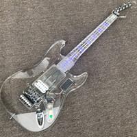 Nuovi prodotti, chitarra elettrica di alta qualità, chitarra acrilica, chitarra elettrica con lampada a LED, hardware argento, customiz suite di chitarra fai-da-te