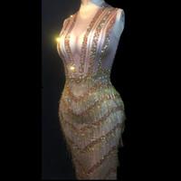 Las mujeres Etapa desgaste atractivo de Bling largo vestido de la borla del oro cristales brillantes trajes de fiesta de la boda del envío del club nocturno danza de la etapa gratuito