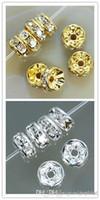 Bra 400pcs / Lot Vit 8mm guld silverpläterad pärla EAH 200 st Crystal Spacer Rondelle Spacer för armband Hotsale DIY Resultat Y3532 S72