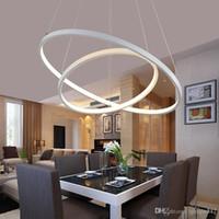 Oturma odası için Modern kolye ışıkları yemek odası 3/2/1 Daire Halkaları akrilik alüminyum gövde LED Aydınlatma tavan Lambası armatürleri