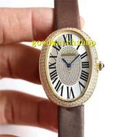 Лучшие бенуар Luxury Алмазный женские часы из золота 18 карат Овальный Женщина Часы швейцарские 6T51 автоматические механические Сапфир 904L из нержавеющей стали Водонепроницаемые