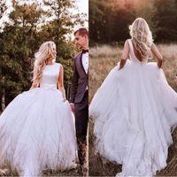 Pas cher Western Country Satin A-Line Robes De Mariée 2019 Bohemian Simple Dos Nu En Tulle Jupe Robe De Mariée Plus La Taille avec Bow Robe De Mariage