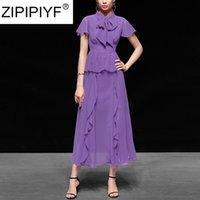 فساتين عادية zipipiyf 2021 الصيف أنيقة ربط بلون اللباس الصلبة عالية الخصر النساء الشيفون C239