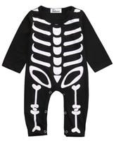 Hiver Halloween Enfants Barboteuse Vêtements Nouveau-Né Bébé Garçon Fille Halloween Barboteuses Coton Costume Squelette Vêtements Costume