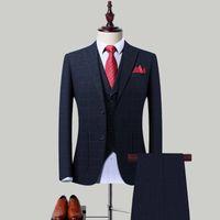 Männeranzüge Business-Anzug-Drei-teiliger Anzug-Trim-Bräutigam britische Plaid-Hochzeits-maßgefertigte Bräutigam-Tragen-Büro Ourfit