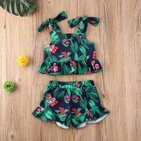الأزياء طفلة ورقة زهرة الصدرية سراويل مجموعة أطفال الصيف حمالة الدعاوى اللون الأخضر لطفلة