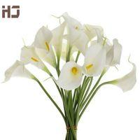20pcs / lot del giglio di Calla PU fiore artificiale tocco reale della decorazione della casa Fiori Bouquet da sposa decorativi Fiori XZ014