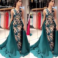Desginer Jewel Neckline Mermaid con Oveskirts Prom vestidos de alta calidad vestido de fiesta sin mangas en ventas calientes