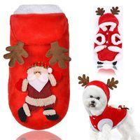 Cappotti per cani autunnali e invernali con cappelli Alci di flanella Giacche per gatti di Babbo Natale Tenere in caldo Pet Abbigliamento natalizio 10gg E1