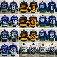 Hockey Vancouver Canucks 40 Elias Pettersson Jersey 6 Brock Boeser 53 BO Horvat Daniel 33 Henrik Sedin 2020 fliegender Skate 50th schwarzblau