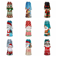غطاء 3D عيد الميلاد مع الأكمام 40 أنماط سوبر الدافئة كريستال المخملية لبس أغطية الشتاء سماكة فضفاض بنات كبيرة بطانية OOA7471
