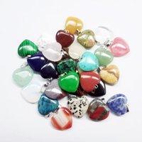 Coração natural de pedra Gemstone Pendants Polido solta pérolas prata banhado Gancho Fit pulseiras e colar Coração Bead GGA3549 Jóias