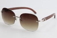 2020 venta sin montura de metal de madera Gafas de sol marco de metal 8100908 Oro gafas de sol de alta calidad diseñador masculino y femenino caliente C Decoración de oro