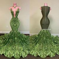 Sexy Olive Green Sirena Vestidos de fiesta africanos 2020 Chicas negras con lentejuelas Vestido de noche Desgaste de fiesta vestidos formales