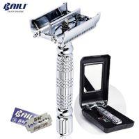 Moda manual de acero inoxidable Hoja de afeitar Maquinilla de afeitar de doble filo Afeitado de barba para hombres con estuche de espejo +6 hojas BD179