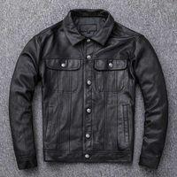 남자 가죽 가짜 정품 남성 짧은 2021 양피 옷깃 데님 버클 슬림 피트 오토바이 자켓 바이커 코트