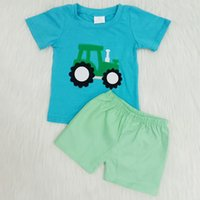 2020 طفل رضيع مصمم الملابس الصيف مجموعة أبيض الأزرق طباعة قصيرة الأكمام تي شيرت السراويل 2 قطع الزي الحليب الحرير أطفال الأولاد بوتيك الملابس
