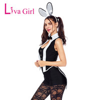 Liva Girl Women Sexy Tuxedo  Costume Cosplay Playsuits For Adult Costumes Halloween Sleeveless Rompers 2018 Black Overalls