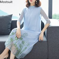 2019 sommer vintage embriodery lange dress frauen plus größe halbe hülse sexy elegante party strandkleider vestidos apricot blue