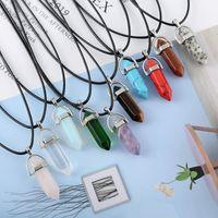 Новые Ожерелья с шестигранной призмой Пуля Для женщин Мужчины Природные целебные кристаллы Кварцевый остроконечный камень Подвеска Строка Веревочные цепи Ювелирные изделия