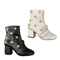 Top Quality Leather Platform Ankle Boot Marmont Boots Embroi...