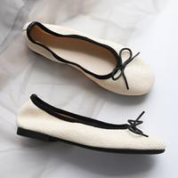 Moda Dokuma Tek Ayakkabı Kadın Comfy Yuvarlak Toe Ilmek Bale Daireler Yumuşak Alt Comfy Moccasins Bayanlar Kısa Sığ Loafer'lar
