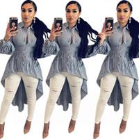 Turn-Down Yaka T Gömlek Elbise Kadın Mavi Beyaz Şerit Uzun Kollu Parti Elbise Rahat Düğmeler Ön Kısa Geri Uzun Elbise NZK-1704