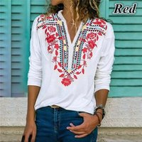 Çiçek Baskı Gevşek Kadın tişörtleri 2020ss Desinger Tees V Yaka İlkbahar Yaz Uzun Kollu Afrika Stil Bayan Giyim Moda Stil Casusal