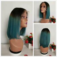 PIXIE CUT BOB WIG Emeraude Green Ombre Cheveux Humains Malaisien Droit Gloupe Dentelle avant Perruques pour femmes noires 13x1 perruque de couleur verte frontale