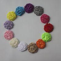 120pcs hechos a mano recién nacido rodado suave satén rosa flores artifcial sólidos flores de tela de bricolaje para vendas del bebé