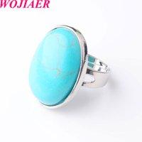 Wojier Oval Natural Gema Pedra Turquesa de Dedo Anéis Party Ring para Homens Mulheres Jóias DX8015