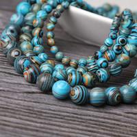 اليوغا الملونة الطبيعية حجر اليوغا شفاء جولة الخرز لصنع المجوهرات السلس فضفاض مطرز لسوار / قلادة