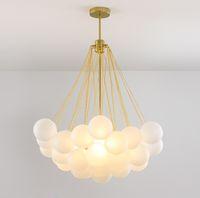 İskandinav Altın Metal Cam Kabarcık Topu kolye Işık Sihirli Fasulye Avize Ev Salon Otel Dekor PA0596