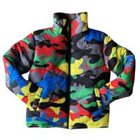 Capa de las mujeres de los hombres de invierno de cuello alto de colores de camuflaje Impreso Puffer chaqueta caliente espesa acolchado completo de la cremallera Outwear S-4XL