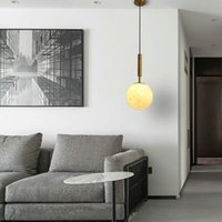 الشمال البساطة الذهبي أضواء led قلادة الزجاج الكرة شنقا مصباح الفوانيس رئيس واحد لل نوم بار مطعم تركيبات